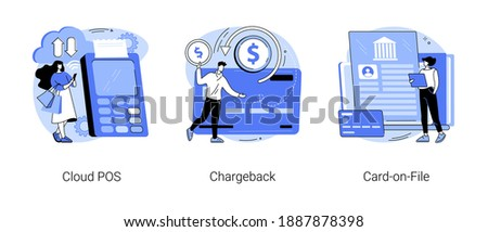Retail software abstract concept vector illustration set. Cloud POS, chargeback, card-on-file, sale and transaction data storage, pay back, bank account, money transfer, purchase abstract metaphor.