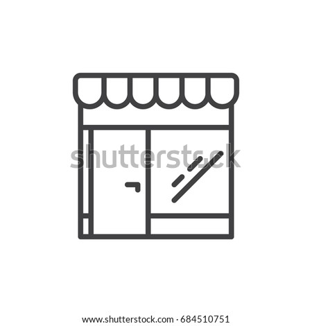 Retail store line icon, outline vector sign, linear style pictogram isolated on white. Market symbol, logo illustration. Editable stroke. Pixel perfect vector graphics