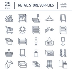 Retail store supplies line icons. Trade shop equipment signs. Commercial objects - cash register, basket, scales, shopping cart, shelving, display cases. Thin linear signs for warehouse