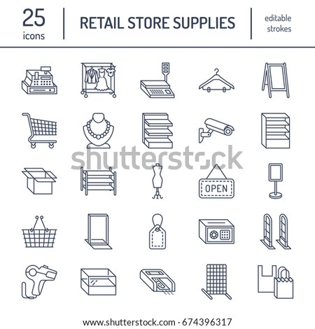 Retail store supplies line icons. Trade shop equipment signs. Commercial objects - cash register, basket, scales, shopping cart, shelving, display cases. Thin linear signs for warehouse stock photo