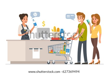 Retail woman cashier with barcode scanner and young couple with purchases. Family shopping in supermarket and paying with card. Flat style vector illustration isolated on white background.