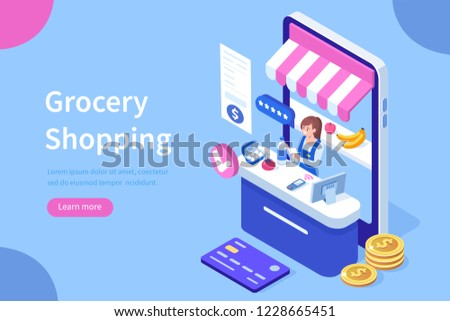 Retail woman cashier with barcode scanner. Can use for web banner, infographics, hero images. Flat isometric vector illustration isolated on white background.
