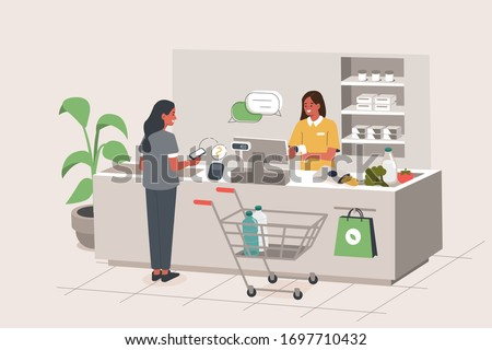 Retail Woman Cashier with Barcode Scanner Scanning Grocery at Supermarket. Customer Standing near Cashier Desk with Purchases in Retail Store. Shopping Concept. Flat Isometric Vector Illustration.
