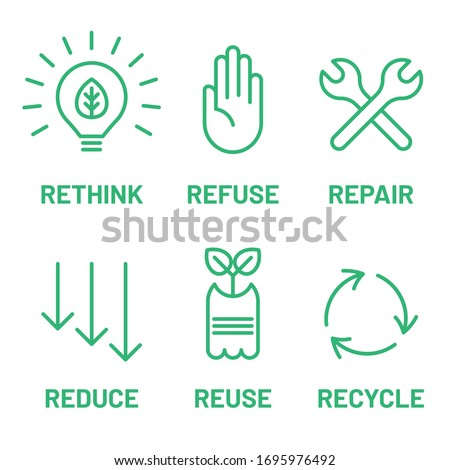 Rethink, Refuse, Repair, Reduce, Reuse, Recycle green icon set. Ecology, zero waste, sustainability,  nature protection, eco friendly concept. Stockfoto ©