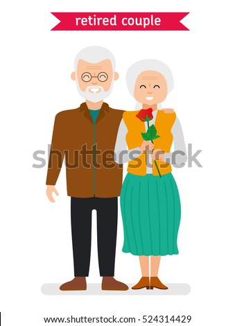 retired couple flat vector