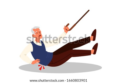 Retired men falling down. Elderly person with cane on the floor. Pain and injury. Vector illustration in cartoon style Stock photo ©