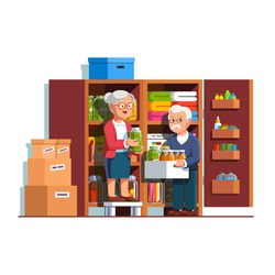 Retired senior family couple people working together putting food preserves, pickle jars &  bottles on home pantry or cellar cupboard shelves. Storage room boxes. Flat cartoon vector illustration.