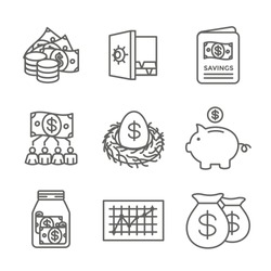 Retirement Account and Savings Icon Set - Mutual Fund, Roth IRA, etc
