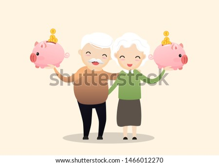 Retirement concept. Old man and woman with golden piggy bank. Carrying retirement savings pink piggy. Saving money for the future. vector, illustration.