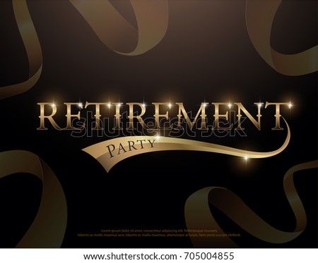Retirement Party Elegant logo design with golden ribbon decorated , Retirement Party logotype template for logo, banner, template, vector illustrator