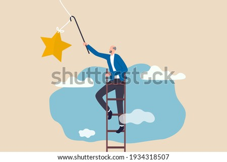 Retirement pension fund target, financial planning for retiree or success retirement life concept, elderly senior retired man climbing up ladder to the top high into the sky to grab the star.