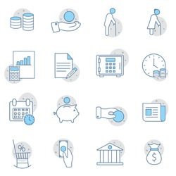 Retirement plan flat line icons set. Pension payment, money deposit, investment fund balance sheet inheritance vector illustration. Web design, mobile app.
