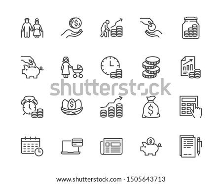 Retirement plan flat line icons set. Pension payment, money deposit, investment fund balance sheet inheritance vector illustration. Outline signs senior savings. Pixel perfect. Editable Strokes.