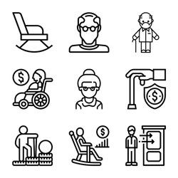 Retirement plan line icons set. Pension payment, money deposit, investment fund, Vector illustration.