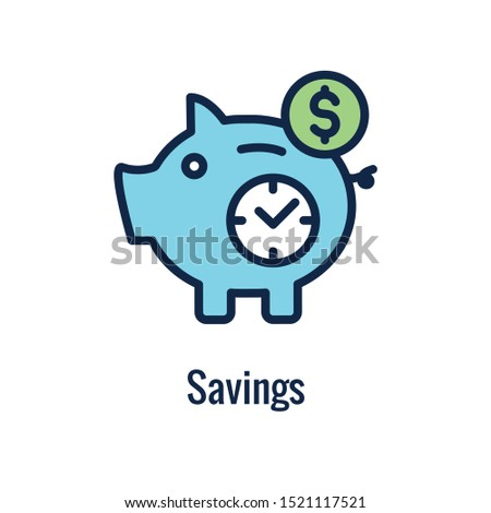 Retirement Savings Icon with retiring and monetary images