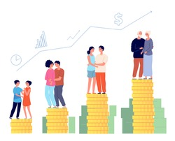Retirement savings plan. Smart retired, pension management. Family money fund, aging man successful invests finance vector illustration