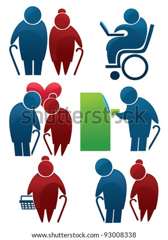 retirement: vector collection of old people symbols