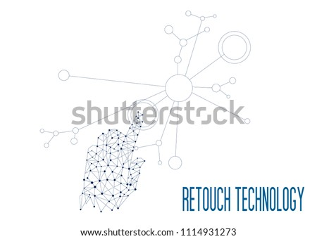 retouch technology, Innovations systems connecting people and robots devices. Future technologies in automatics cyborg systems and computers industry from awesome internet developments.