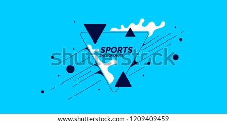 Retro abstract geometric background. The sports poster with the flat figures. Vector illustration.