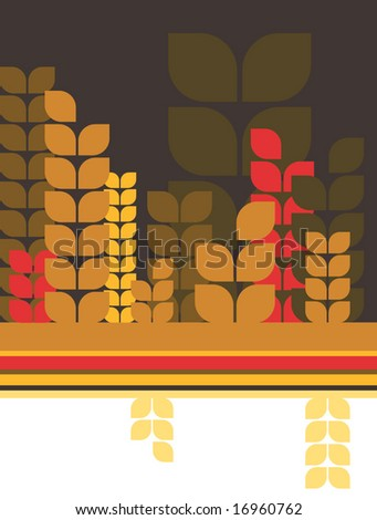 retro abstract wheat or barley field