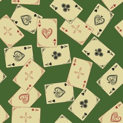 Retro Aces of playing card seamless pattern on a green background