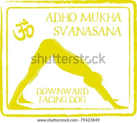 Retro Adho Svanasana Downward Facing Dog Yoga Pose in Passport Stamp Style Vector Illustration