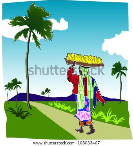 Retro African Woman Going to Market Scene Vector Illustration