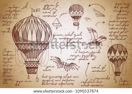 Retro air balloons hand drawn sketches. Vintage engraving poster. Flying inventions. Early flying machines.