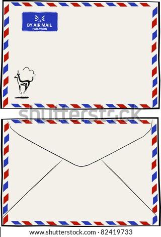 Retro Air Mail Par Avion Envelope Vector Illustration