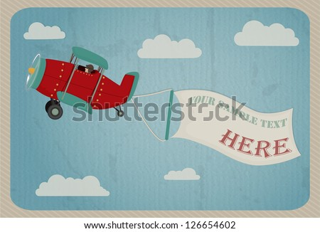 Retro airplane in the sky with poster for Your text, vintage style.