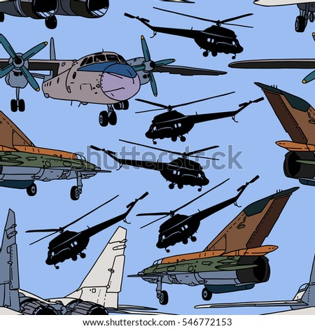 retro airplanes and helicopters