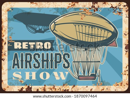 retro airships show rusty plate
