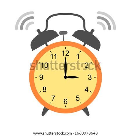 Retro alarm clock isolated. The clock showing 3 o'clock. Сток-фото ©