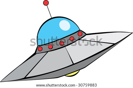 Retro Alien Flying Sauscer with in mid-century modern style.