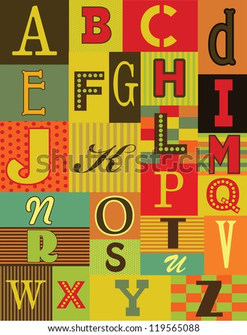 retro alphabet design vector illustration