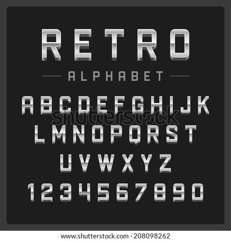 Retro alphabet font. Type letters and numbers silver metal style Vector design elements.