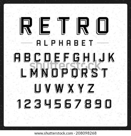 retro alphabet font type
