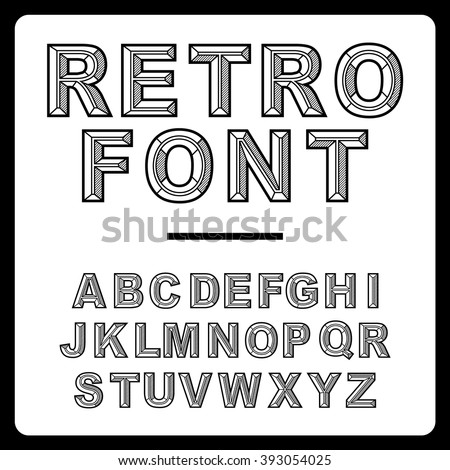 Retro alphabet font vector #393054025
