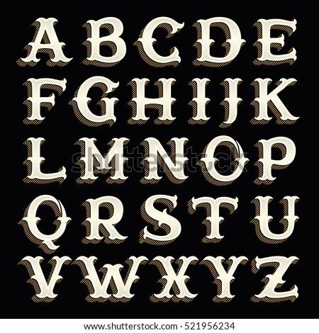 retro alphabet in western style ...