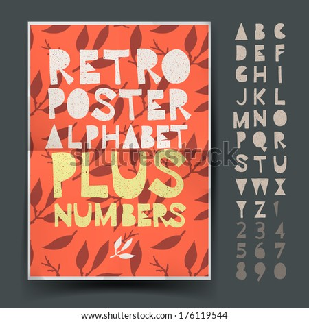 Retro alphabet set for art and craft poster's design, vector illustration.