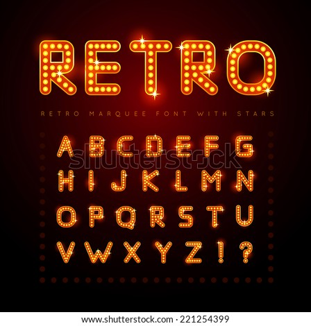 retro alphabet set with lamp