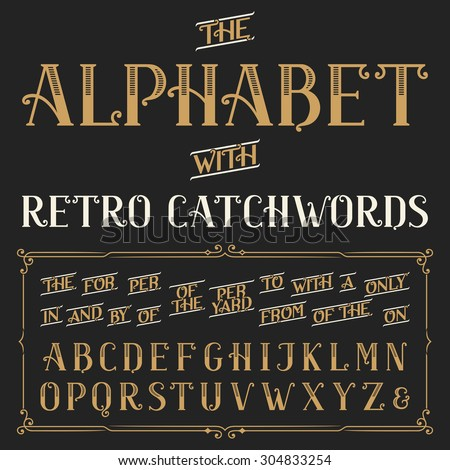 retro alphabet vector font with