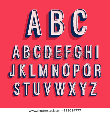 Retro alphabet. Vector illustration.