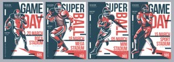 Retro American Football flyer poster templates