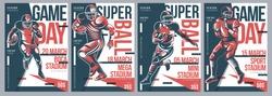 Retro American Football flyer poster templates