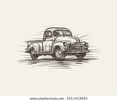 Retro American Pickup Truck hand drawn illustration. Vector.