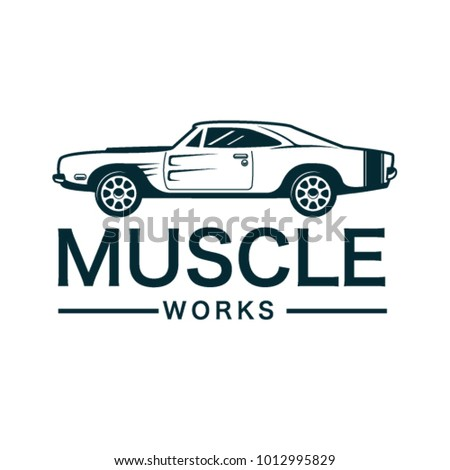 Retro And Classic Muscle Car Logo Template Vector With Emblem Style