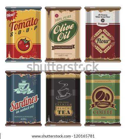 retro and vintage food cans...