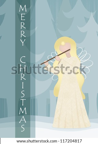 Retro angel playing on a flute in snowy landscape, vector