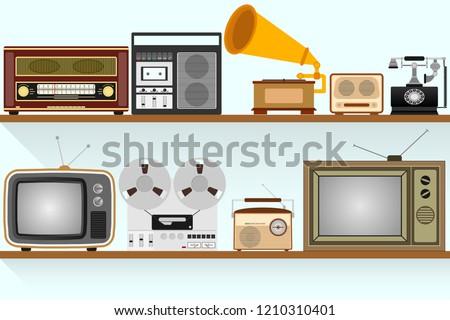 stock-vector-retro-appliances-set-of-vintage-machinery-retro-appliances-are-on-the-shelf-flat-design-vector